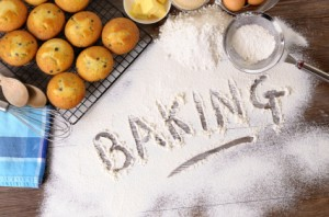 Baking cakes with ingredients